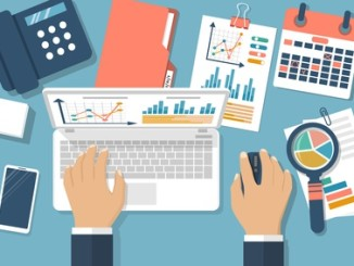 Working with financial papers. Accounting concept. Organization process, analytics, research, planning, report, market analysis. Flat style vector. Man at table with documents.